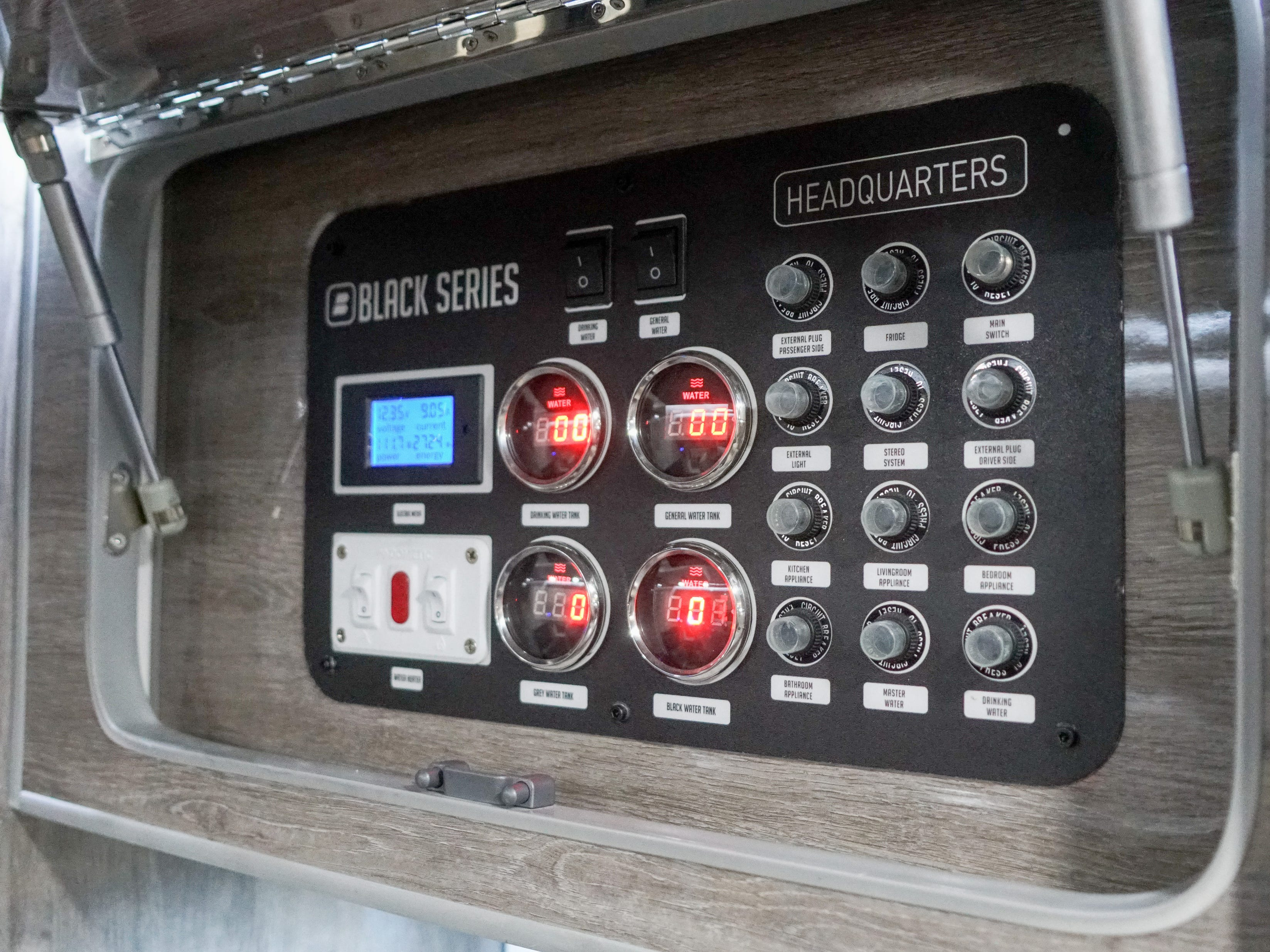The electronic controls for this RV make it easy to add solar power.