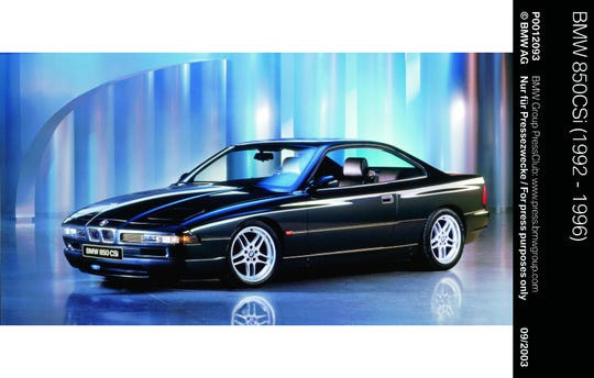 The BMW 850CSi debuted at the Detroit auto show in 1994.