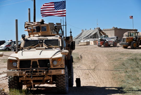 A U.S. military vehicle is seen in northern Syria in April 2018.