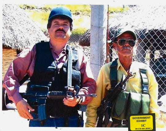"In this undated photo provided by the United States Attorney's Office for the Eastern District of New York, Joaquin ""El Chapo"" Guzman, left, poses with an unidentified man. Text messages sent by the Mexican drug lord known as El Chapo about narrowly avoiding capture in 2012 have become the latest damaging evidence at his U.S. trial.  Prosecutors presented the texts Wednesday, Jan. 9, 2019 in federal court in Brooklyn, where Guzman has pleaded not guilty to drug-trafficking charges.  (United States Attorney's Office for the Eastern District of New York) ORG XMIT: NYR201"