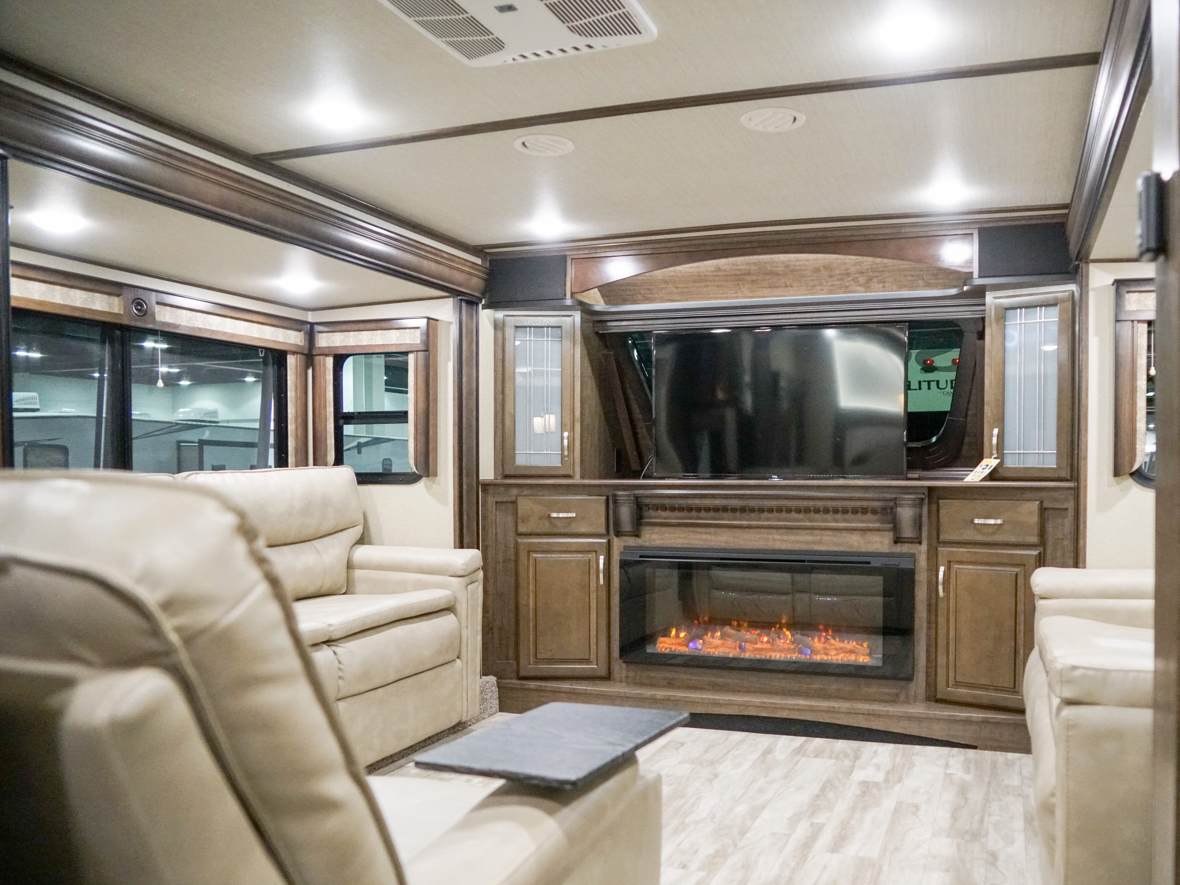 This RV's living room looks like it's been transplanted from a house.