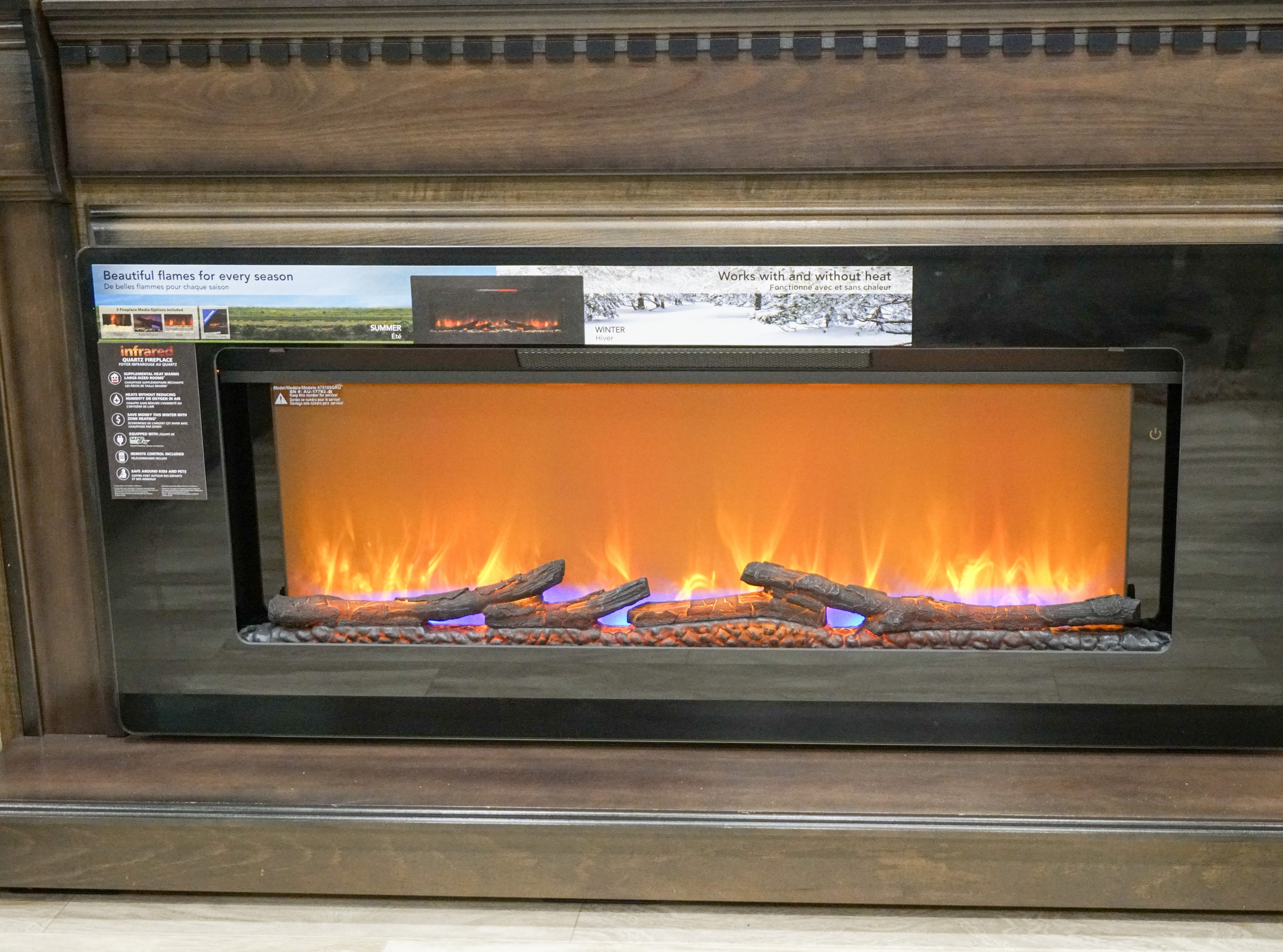 This RV is fitted with a fake fire that's can also emit heat when attached to a furnace.