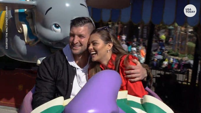 Tim Tebow and Demi-Leigh Nel-Peters celebrate engagement at Disney World.