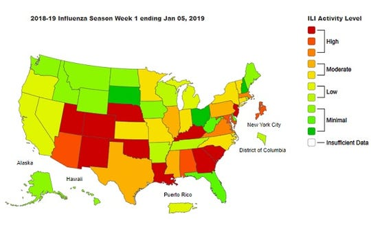 The weekly flu report from the Centers of Disease Control and Prevention notes 7.3 million people have been sick with flu and that widespread flu activity was reported by 30 states.