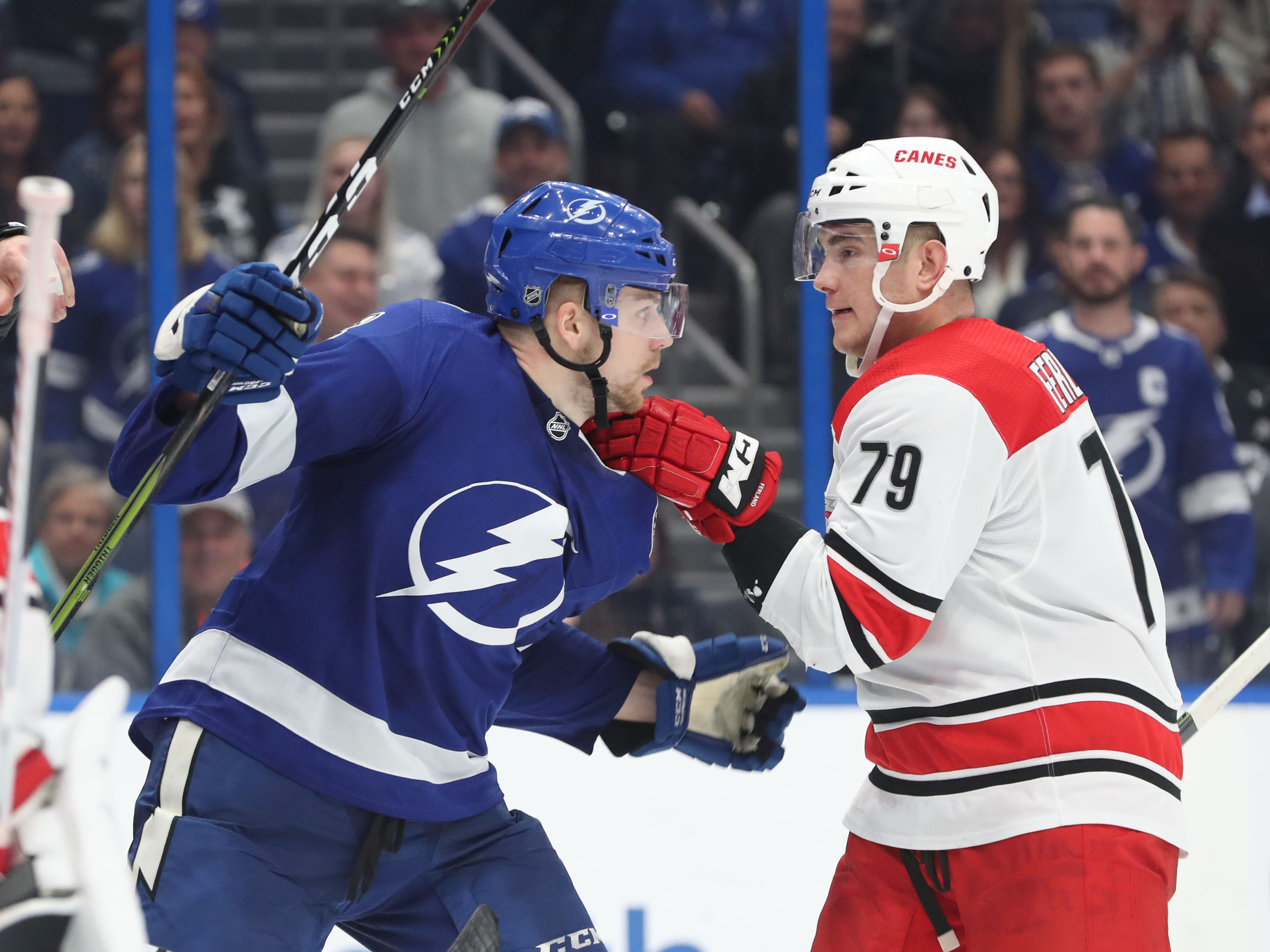 Jan. 10: Tampa Bay Lightning's Erik Cernak vs. Carolina Hurricanes' Micheal Ferland.