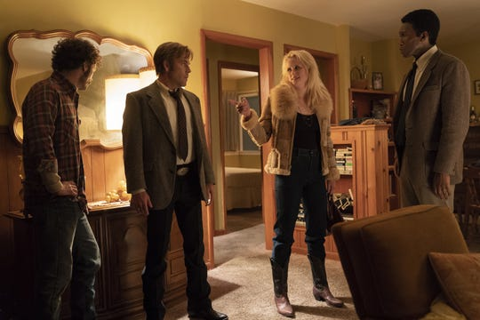 "Scoot McNairy, Stephen Dorff, Mamie Gummer and Mahershala Ali on ""True Detective"" Season 3."