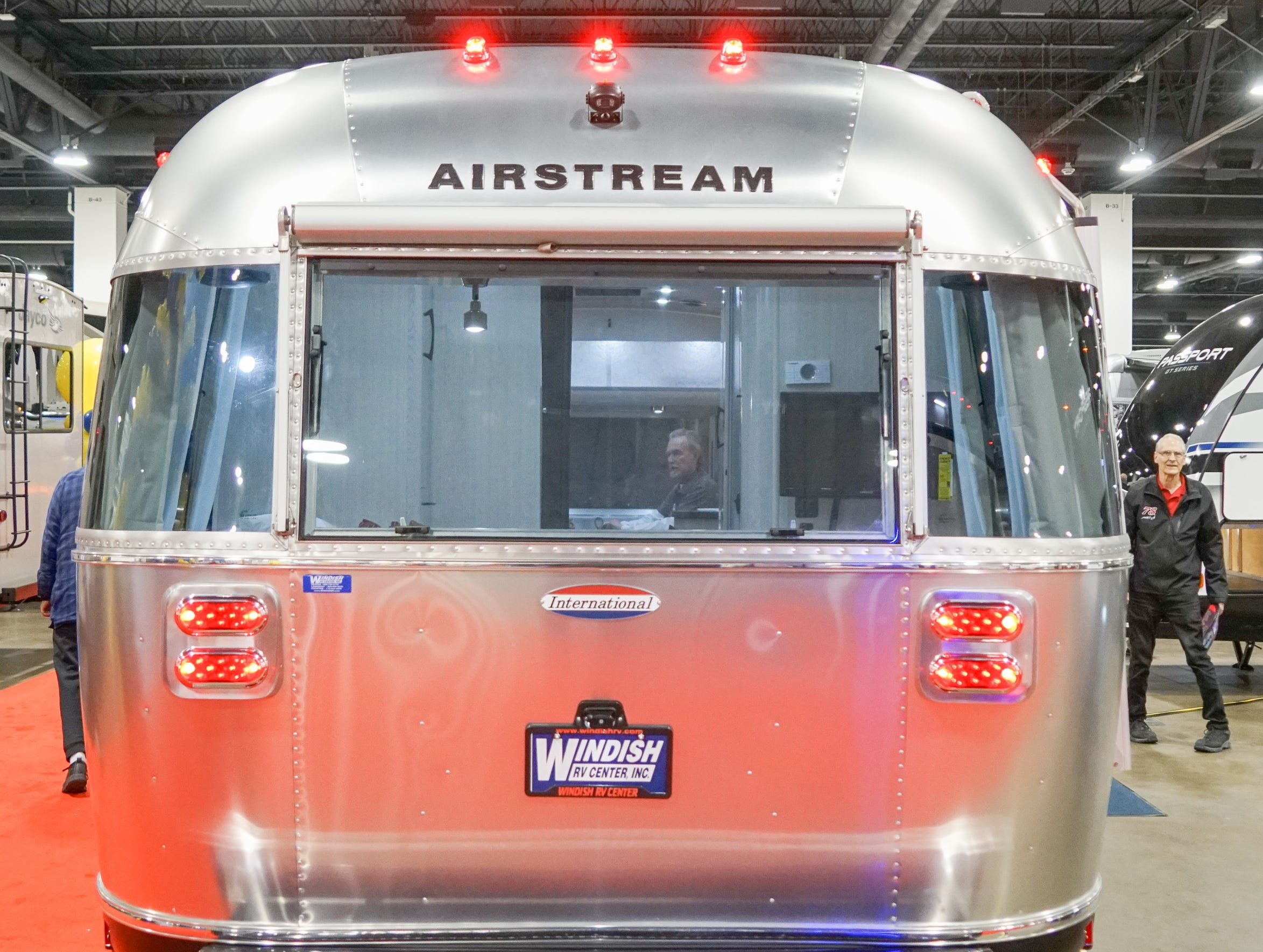 A classic but newly manufactured Airstream in the company's instantly recognizable aluminum finish.