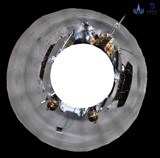 This picture released on Jan. 11, 2019 by the China National Space Administration (CNSA) via CNS shows a 360 degree panoramic image made by China's Chang'e-4 lunar probe on the far side of the moon.