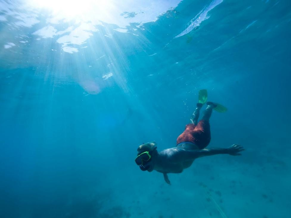 Super-easy for snorkelers to navigate, there is little or no current; water temperatures average 80 degrees Fahrenheit; and underwater visibility ranges from 50 to 140 feet.