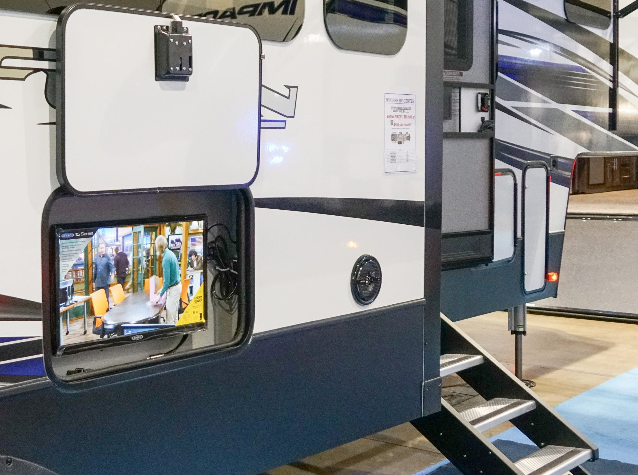 Many larger RV trailers now come designed to carry a TV that can be watched by people sitting outside.