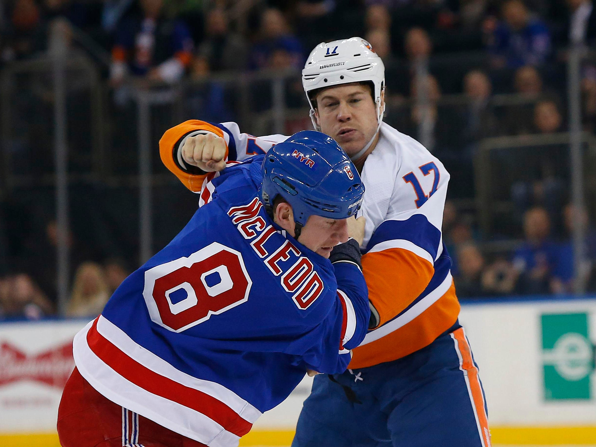 Jan. 10: New York Islanders' Matt Martin vs. New York Rangers' Cody McLeod