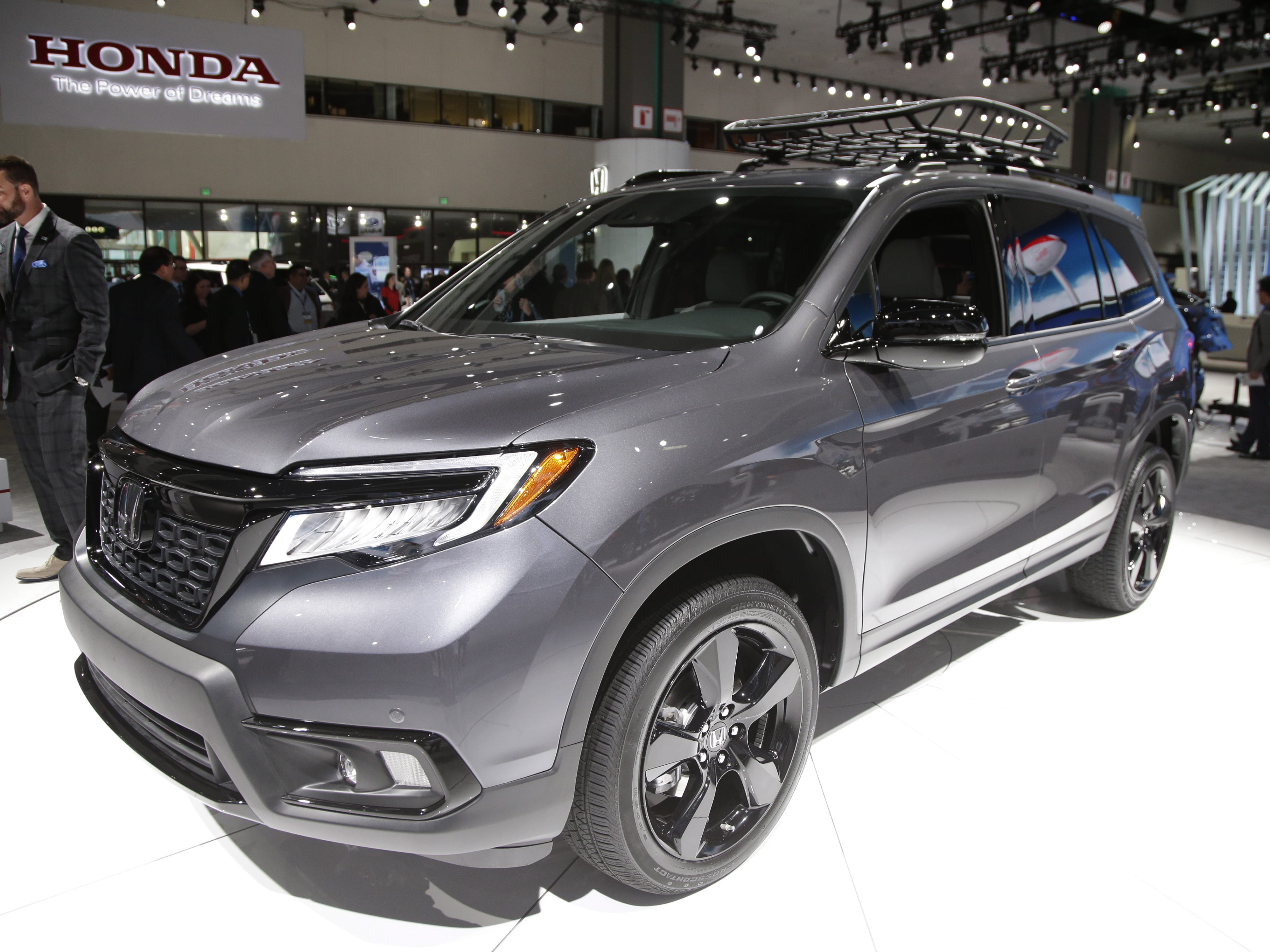 The Honda 2019 Passport AWD Elite is displayed at the Automobility LA auto show. Nov. 28, 2018. Honda plans to begin selling the Honda Passport SUV later this year. It's a remake of the Passport SUV sold in the 1990s,