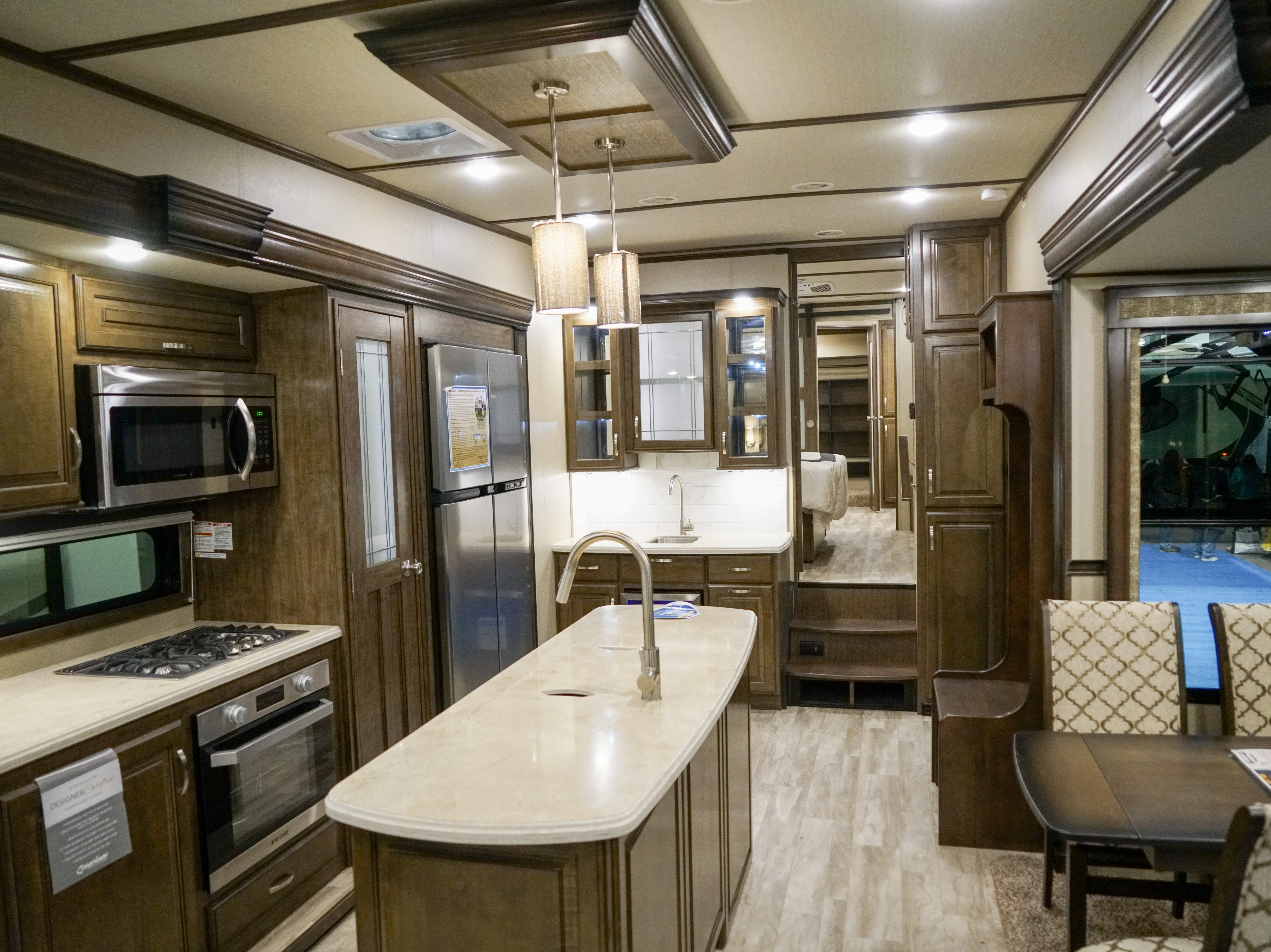 Many luxury RVs feature fittings and finishes usually found in high-end homes.