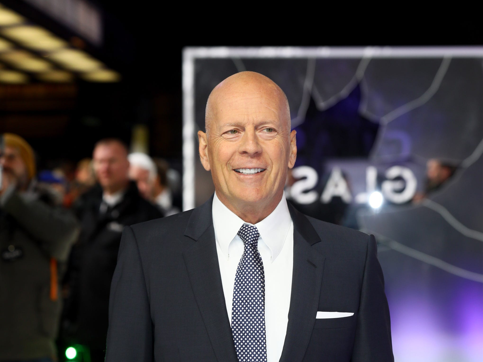"LONDON, ENGLAND - JANUARY 09:  Bruce Willis attends the UK Premiere of M. Night Shyamalan's all-new comic-book thriller ""Glass"" at Curzon Cinema Mayfair on January 9, 2019 in London, England.  (Photo by Tim P. Whitby/Getty Images for Buena Vista International) ORG XMIT: 775278514 ORIG FILE ID: 1079753198"