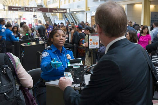 An employee of the Transportation Security Administration in Arlington, Virginia. June, 2016.