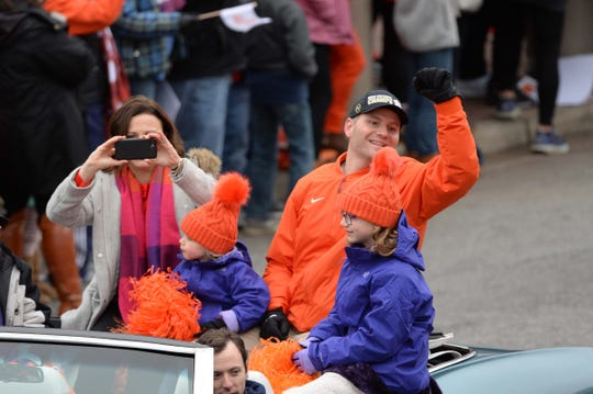 Brandon Streeter and family during the National Championship parade for the Clemson Tigers football team in Clemson Saturday, January 12, 2019.