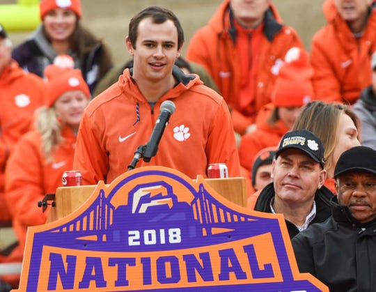 Clemson wide receiver Hunter Renfrow speaks during the National Championship celebration for the Clemson Tigers football team in Clemson Saturday, January 12, 2019.