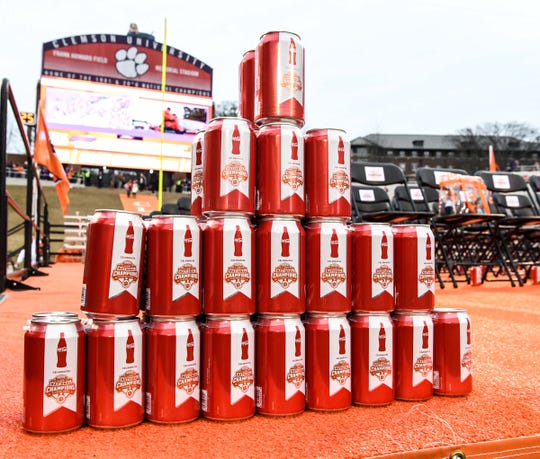 Coke cans inside Memorial Stadium after the National Championship parade for the Clemson Tigers football team in Clemson Saturday, January 12, 2019.