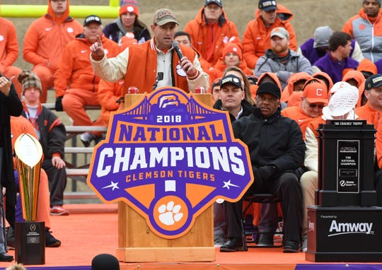 Clemson Head Coach Dabo Swinney speaks during the National Championship celebration for the Clemson Tigers football team in Clemson Saturday, January 12, 2019.