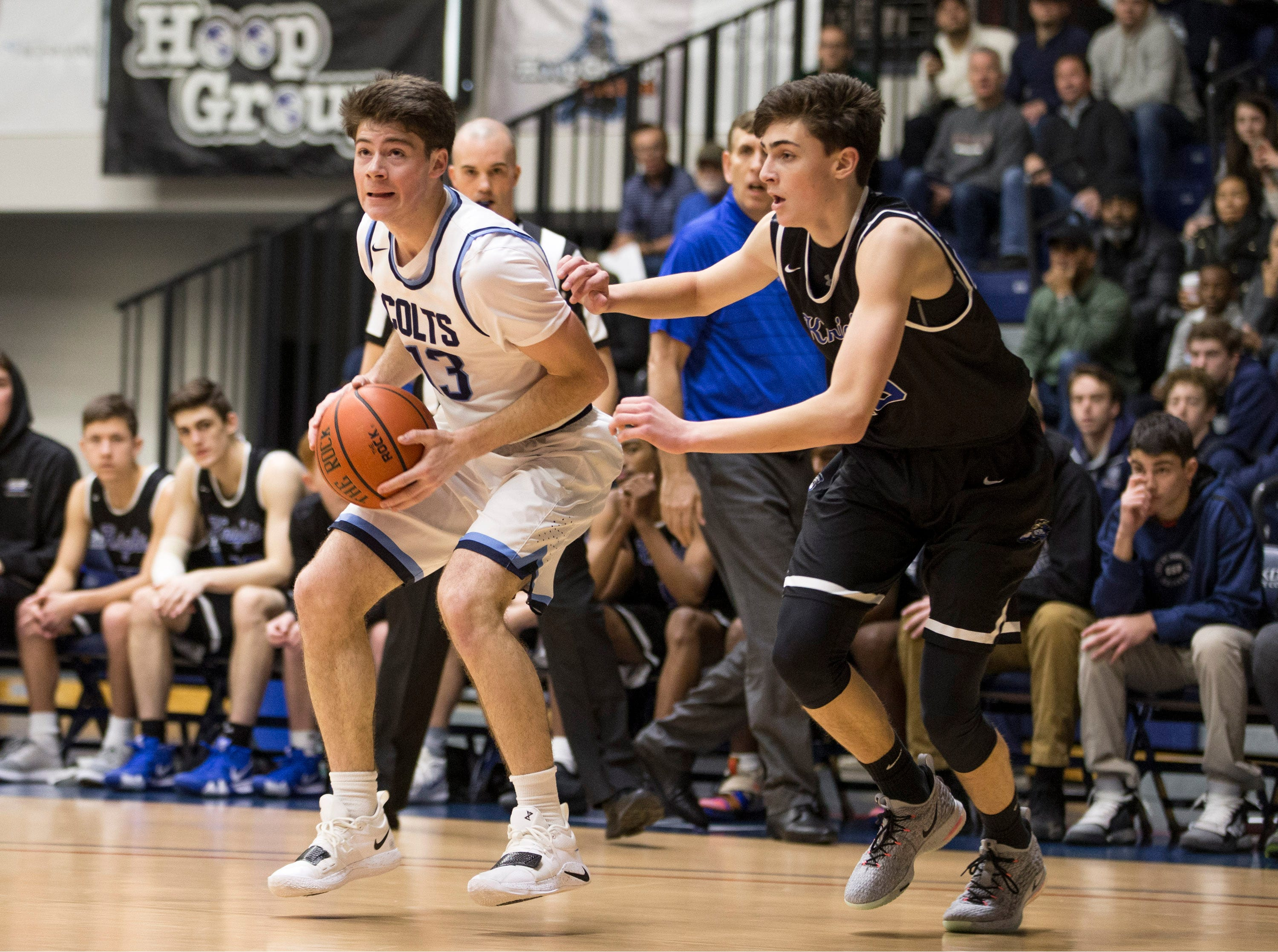 Joshua Cohen of Christian Brothers Academy in first half action. The 2019 Boardwalk Hoop Group Showcase tournament takes place at Brookdale Community College. Game one features Gill St. Bernard's vs Christian Brothers Academy. Middletown, NJSaturday, January 12, 2019