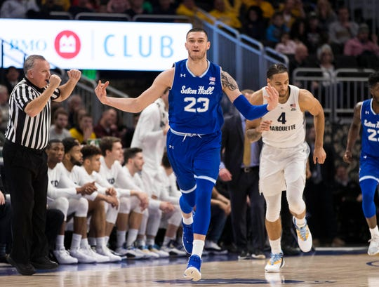 Seton Hall Pirates forward Sandro Mamukelashvili (23) celebrates following a basket during the first half against the Marquette Golden Eagles