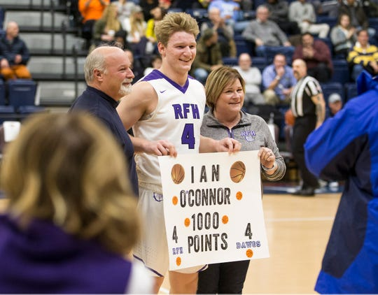 Rumson-Fair Haven's Ian O'Connor hits the 1,000 point mark for his career.  The 2019 Boardwalk Hoop Group Showcase tournament takes place at Brookdale Community College. Game two features Middletown North vs Rumon-Fair Haven. 