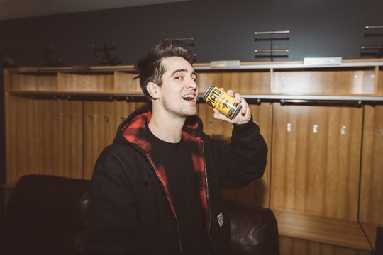Panic! at the Disco frontman Brendon Urie with a can of IP!ATD, the band's collaboration with Asbury Park Brewery.