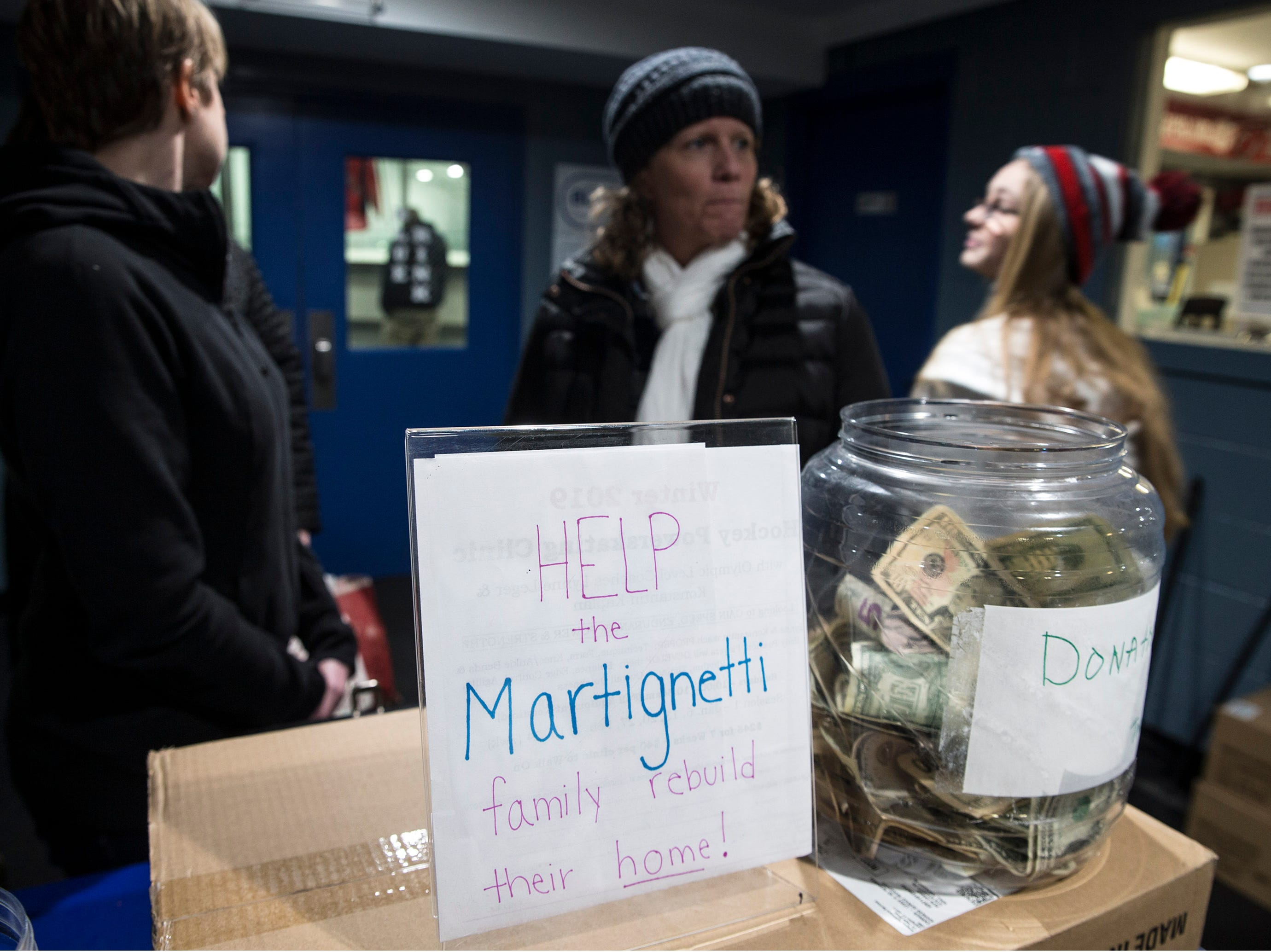 A fundraiser is held at the Jersey Shore Arena for the Martignetti family of Wall, whose family was completely destroyed by a fire last week. One of the daughters attends St. Rose. Both Wall and St. Rose hockey teams have senior night during their games with all proceeds going to the family in need. Wall Township, NJFriday, January 11, 2019