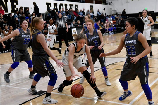 Lady Eagles' Kelly Boyland scrambles for the ball during Friday's game against Weatherford Jan. 11, 2019 at Abilene High. Final score was 51-38, Abilene.