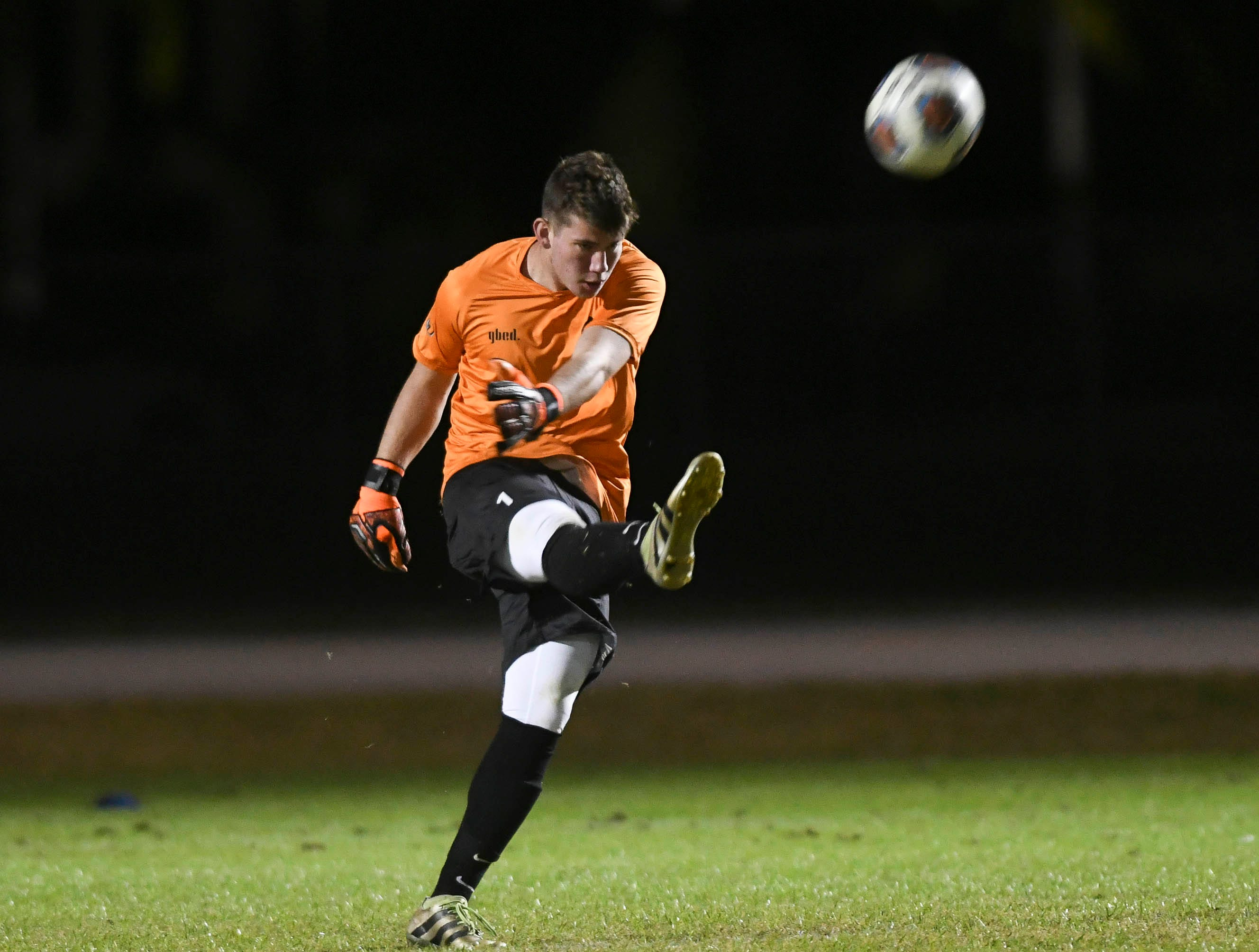 Viera goalkeeper James Leonard sends the ball downfield during Friday's game against MCC.