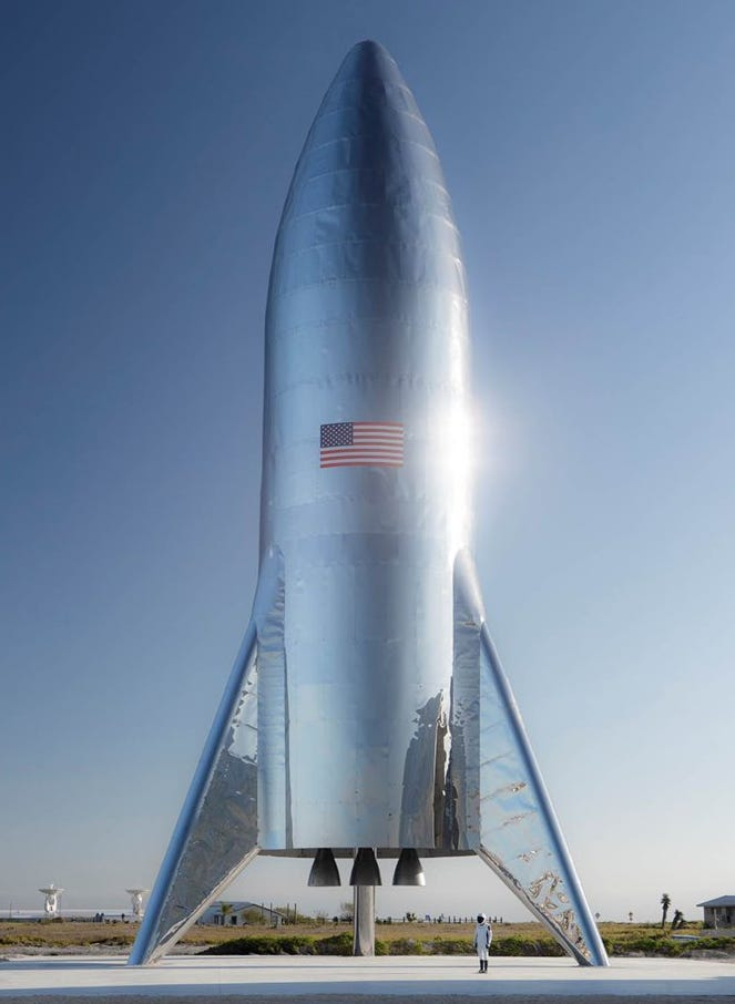 """SpaceX's Starship test vehicle in Texas, which could conduct its first """"hop"""" flights in February. The final version of Starship will be much larger."""