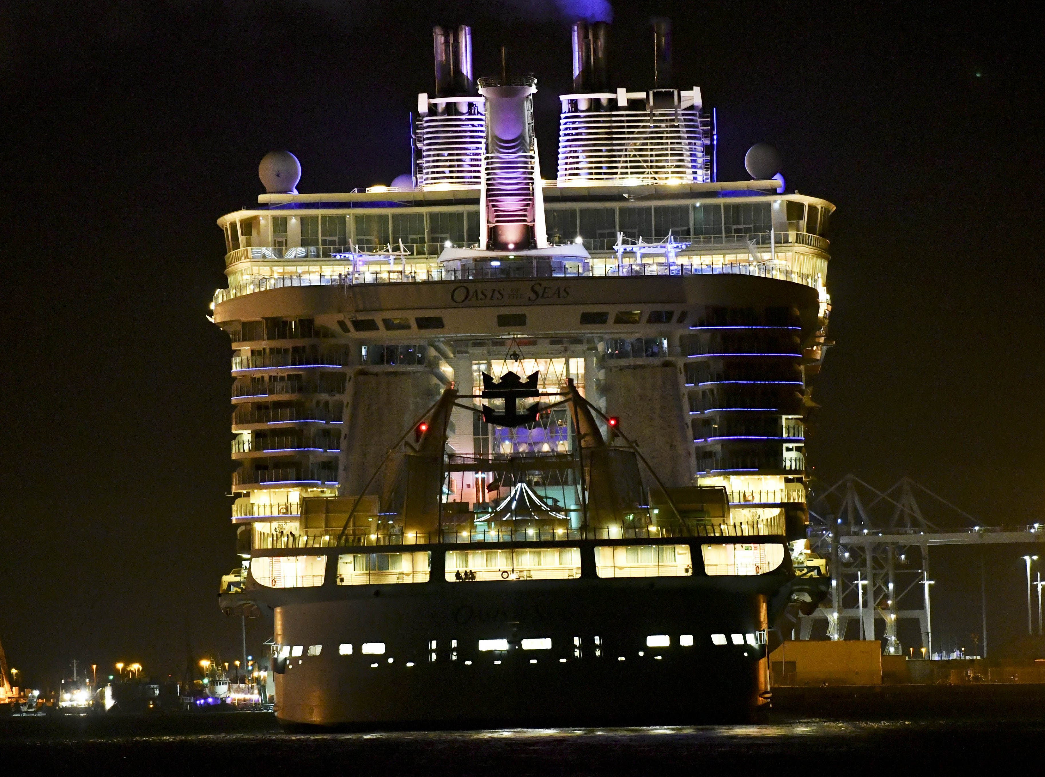 The Royal Caribbean Cruise Lines ship Oasis of the Seas returned to Port Canaveral on Jan. 12, 2019.  The ship returned to port a day early due to an outbreak of Norovirus.