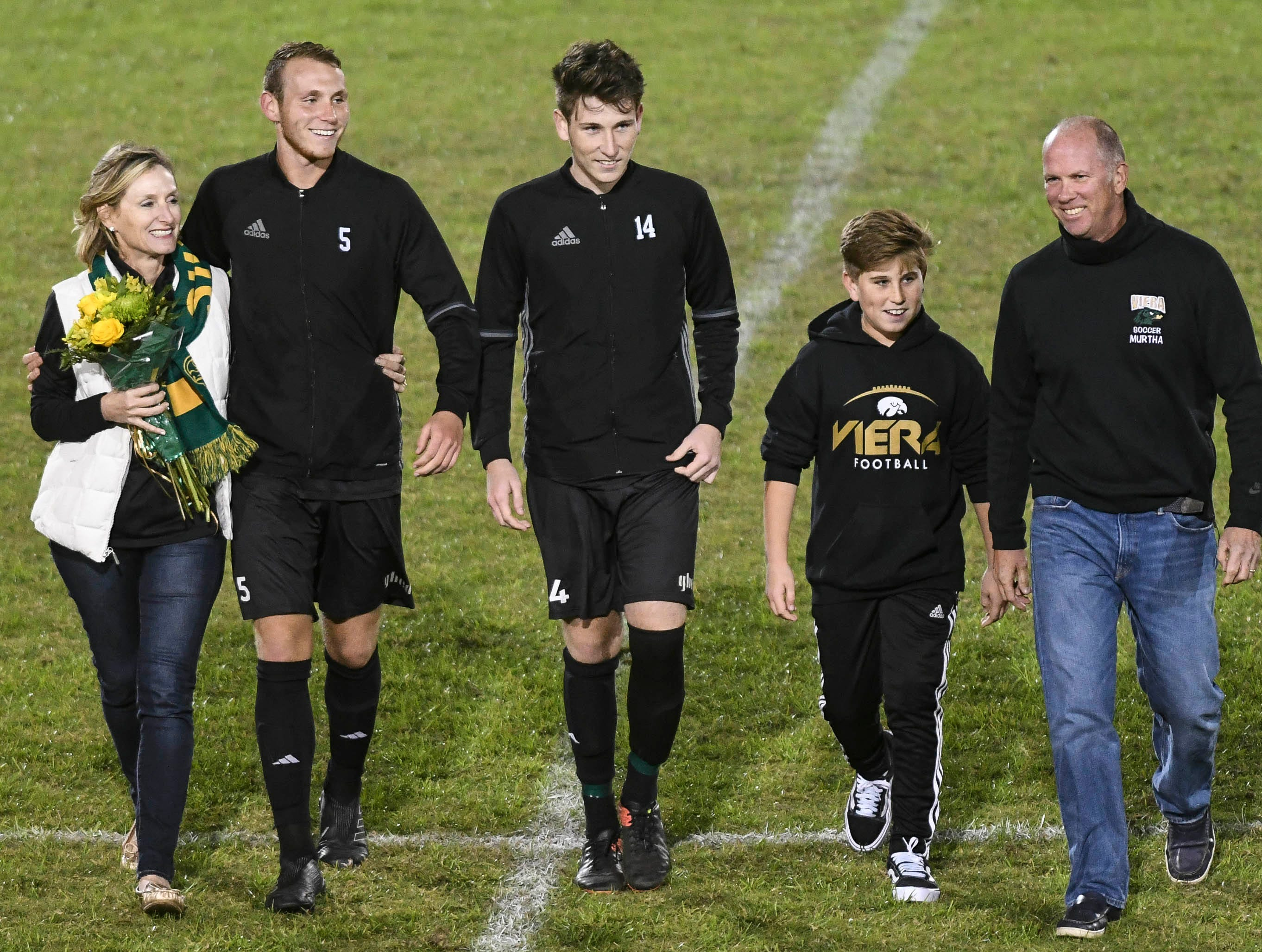 Robbie Murtha (5) of Viera was one of six seniors honored during Friday's game against MCC.