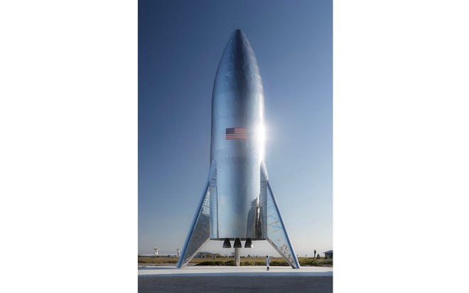 "SpaceX's Starship test vehicle in Texas, which could conduct its first ""hop"" flights as soon as February. The final version of Starship will be much larger."