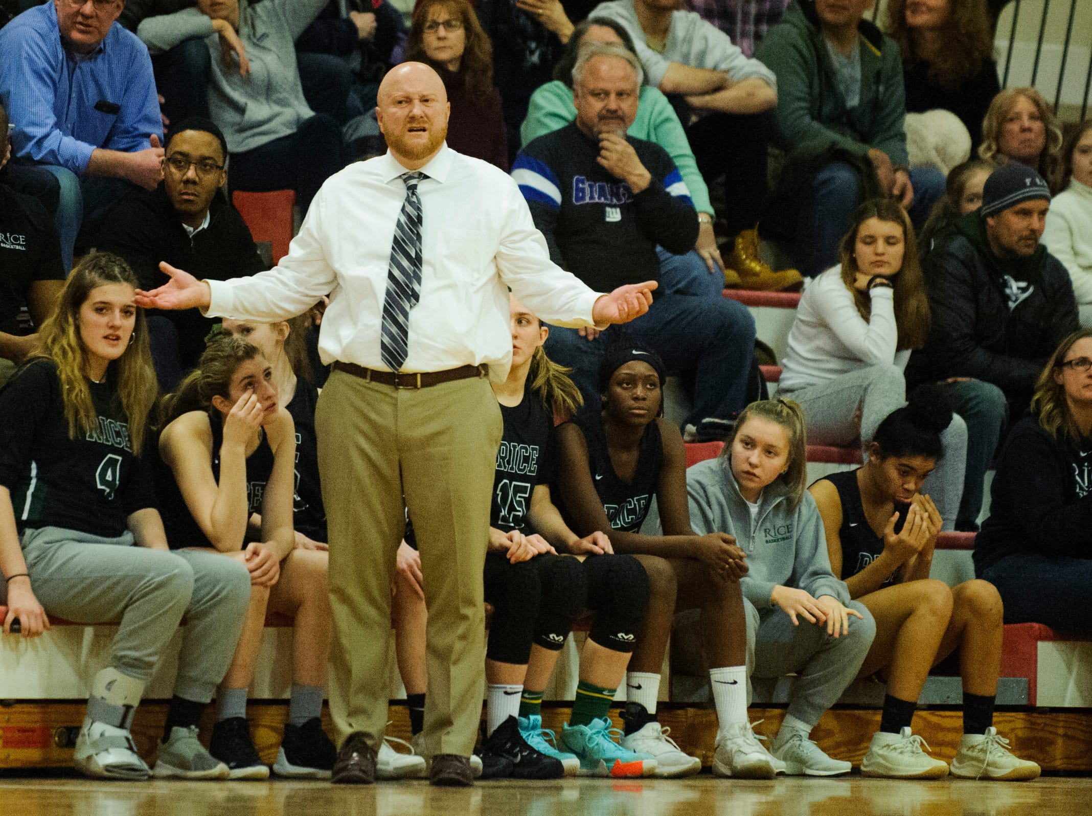 Rice head coach Aurie Thibault questions a call on the court during high school girls basketball game between the Rice Green Knights and the Champlain Valley Union Redhawks at CVU High School on Friday night January 11, 2019 in Hinesburg.
