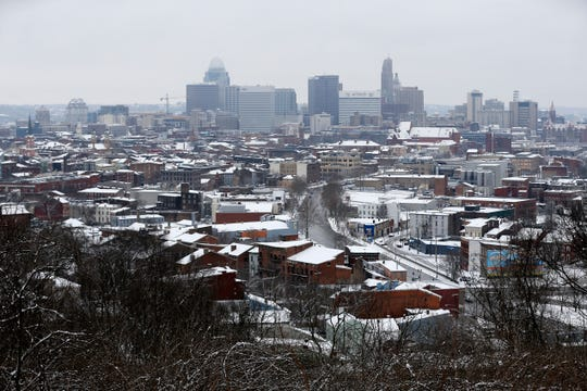 Snow blankets Over-the-Rhine and the Central Business District in Cincinnati on Saturday, Jan. 12, 2019.