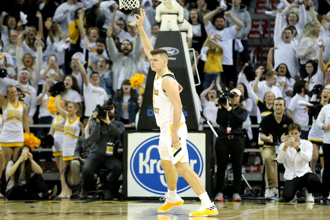 Northern Kentucky Norse forward Drew McDonald (34) reacts after a made 3-point basket in the second half of an NCAA basketball game against the Wright State Raiders, Friday, Jan. 11, 2019, at BB&T Arena in Highland Heights, Ky.