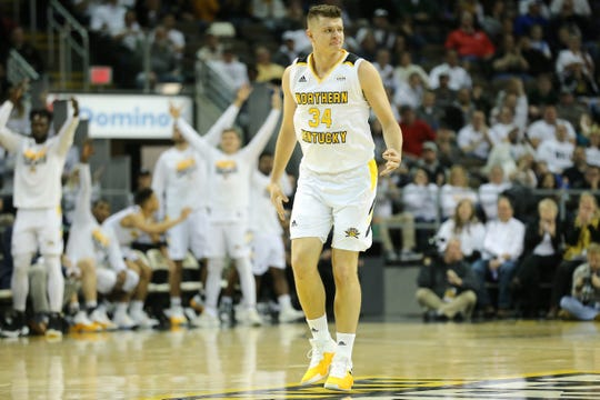 Norse forward Drew McDonald reacts after scoring a 3-point basket in the first half.