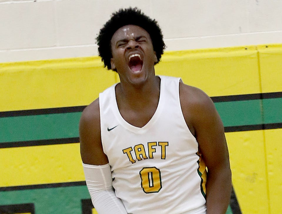 Taft forward Cleveland Farmer reacts during the Senators' basketball game against Aiken.