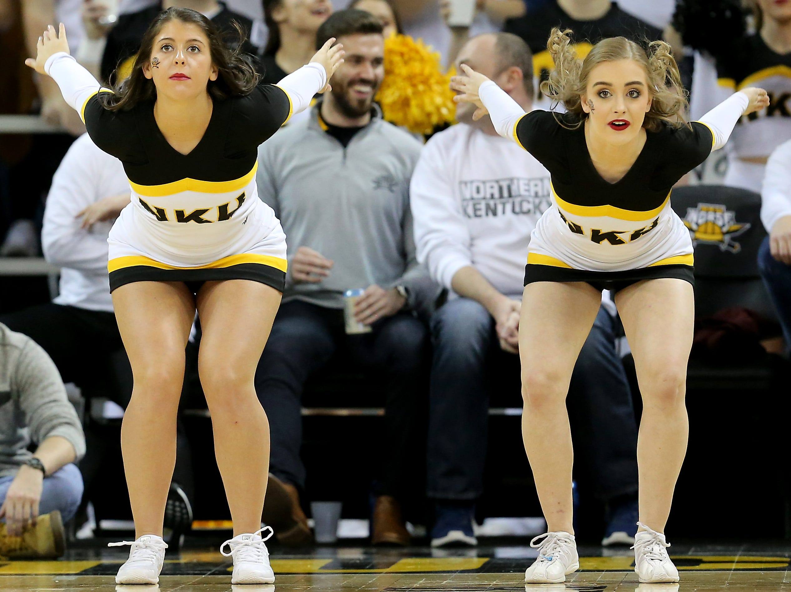 Two Northern Kentucky Norse flip during free throws in the second half of an NCAA basketball game, Friday, Jan. 11, 2019, at BB&T Arena in Highland Heights, Ky.