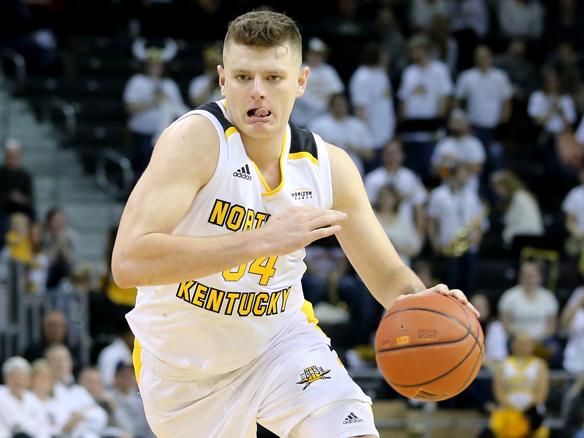 Northern Kentucky Norse forward Drew McDonald (34) drives to the basket in the second half of an NCAA basketball game against the Wright State Raiders, Friday, Jan. 11, 2019, at BB&T Arena in Highland Heights, Ky.