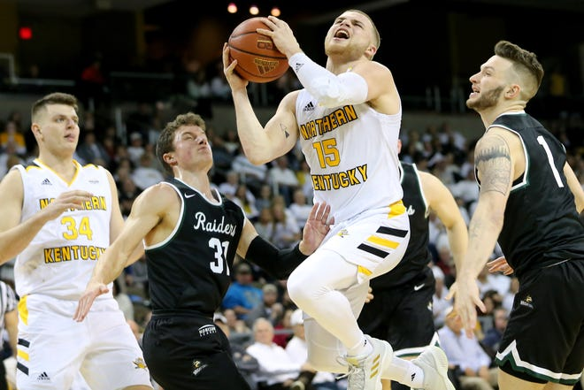 Northern Kentucky Norse guard Tyler Sharpe (15) drives to the basket against Wright State Jan. 11. He had 14 points, including a clinching free throw with 2.8 seconds to play.