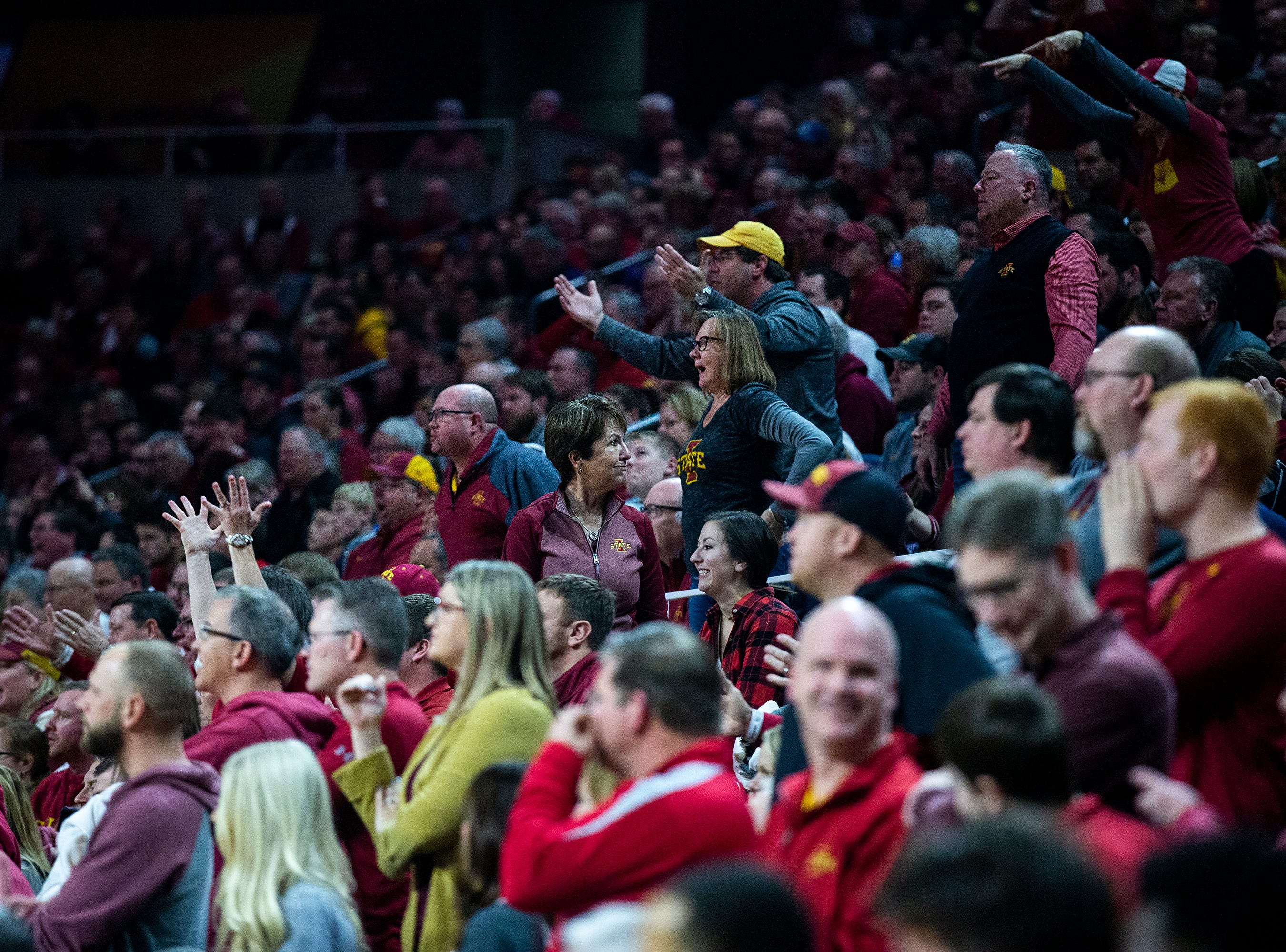 Fans react to a call they didn't like during the Iowa State men's basketball game against Kansas State on Saturday, Jan. 12, 2019, in Hilton Coliseum. The Cyclones lost to KSU by one point, 58-57.