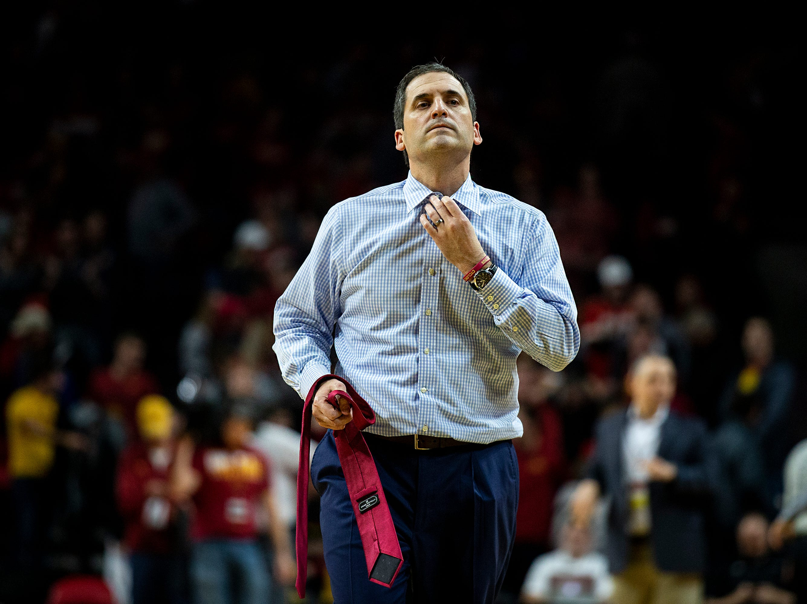 Iowa State Head Coach Steve Prohm takes of his tie as he leaves to court after the Cyclones loss to Kansas State on Saturday, Jan. 12, 2019, in Hilton Coliseum. The Cyclones lost to KSU by one point, 58-57.