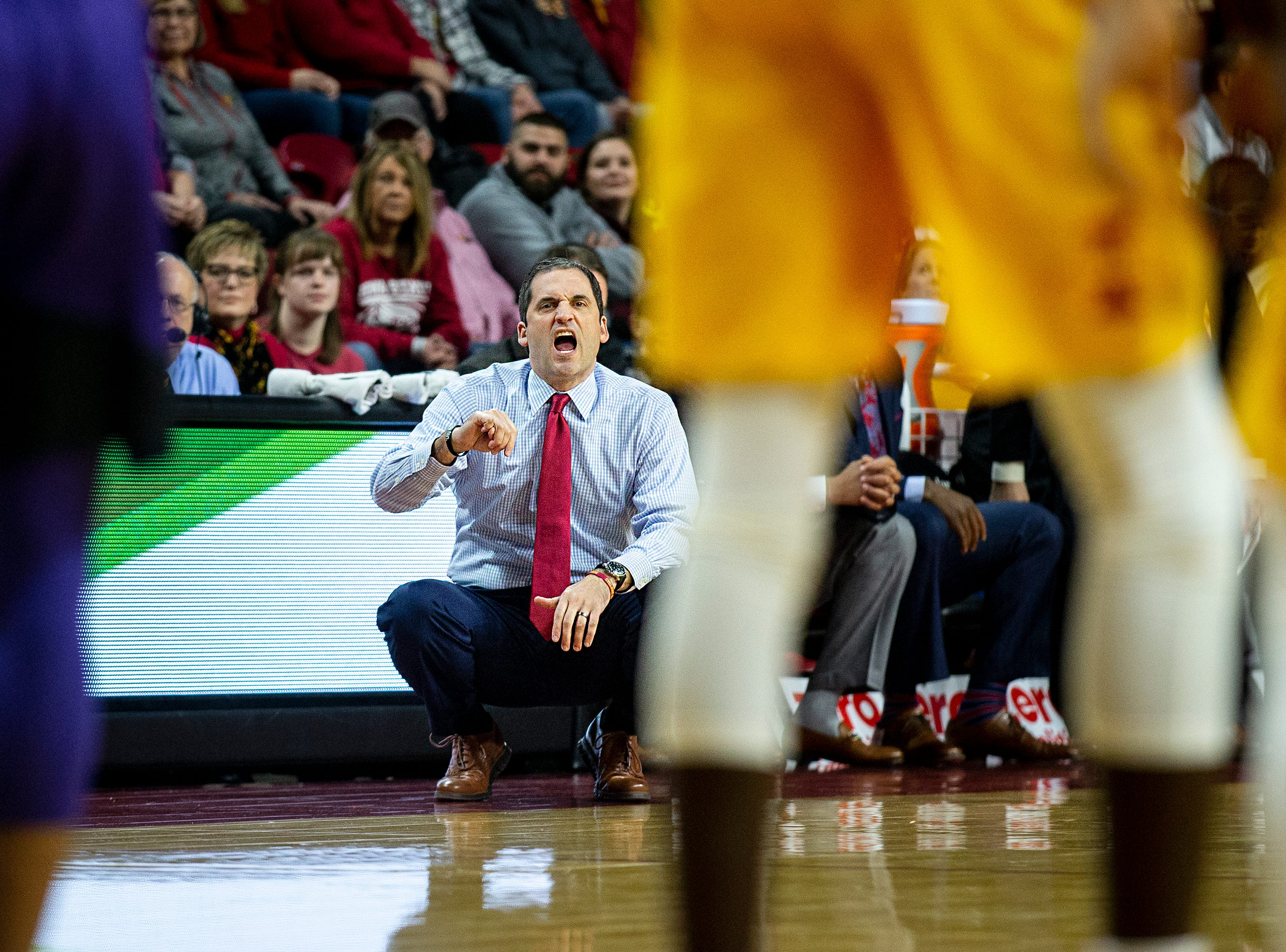 Iowa State Head Coach Steve Prohm calls out a play during the Iowa State men's basketball game against Kansas State on Saturday, Jan. 12, 2019, in Hilton Coliseum.