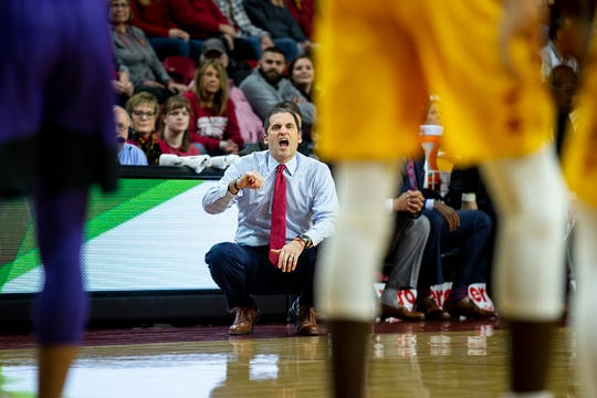 Iowa State coach Steve Prohm calls out a play during the Cyclones' game against Kansas State on Saturday, Jan. 12, 2019, in Hilton Coliseum.