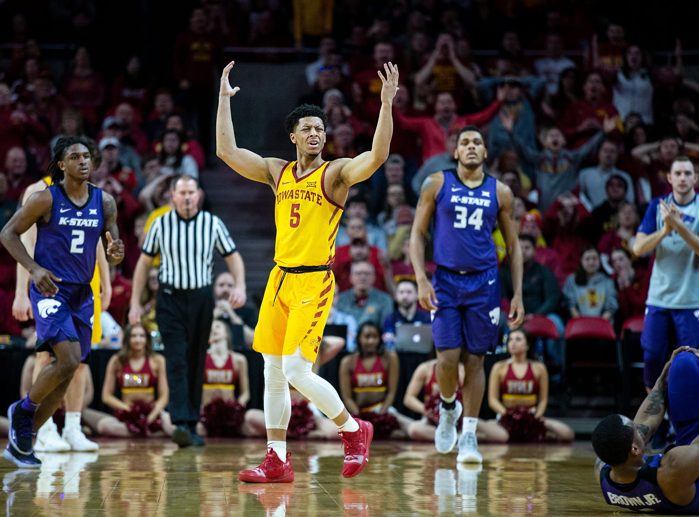 Iowa State's Lindell Wigginton reacts after being called for a foul during the Iowa State men's basketball game against Kansas State on Saturday, Jan. 12, 2019, in Hilton Coliseum. The Cyclones lost to KSU by one point, 58-57.