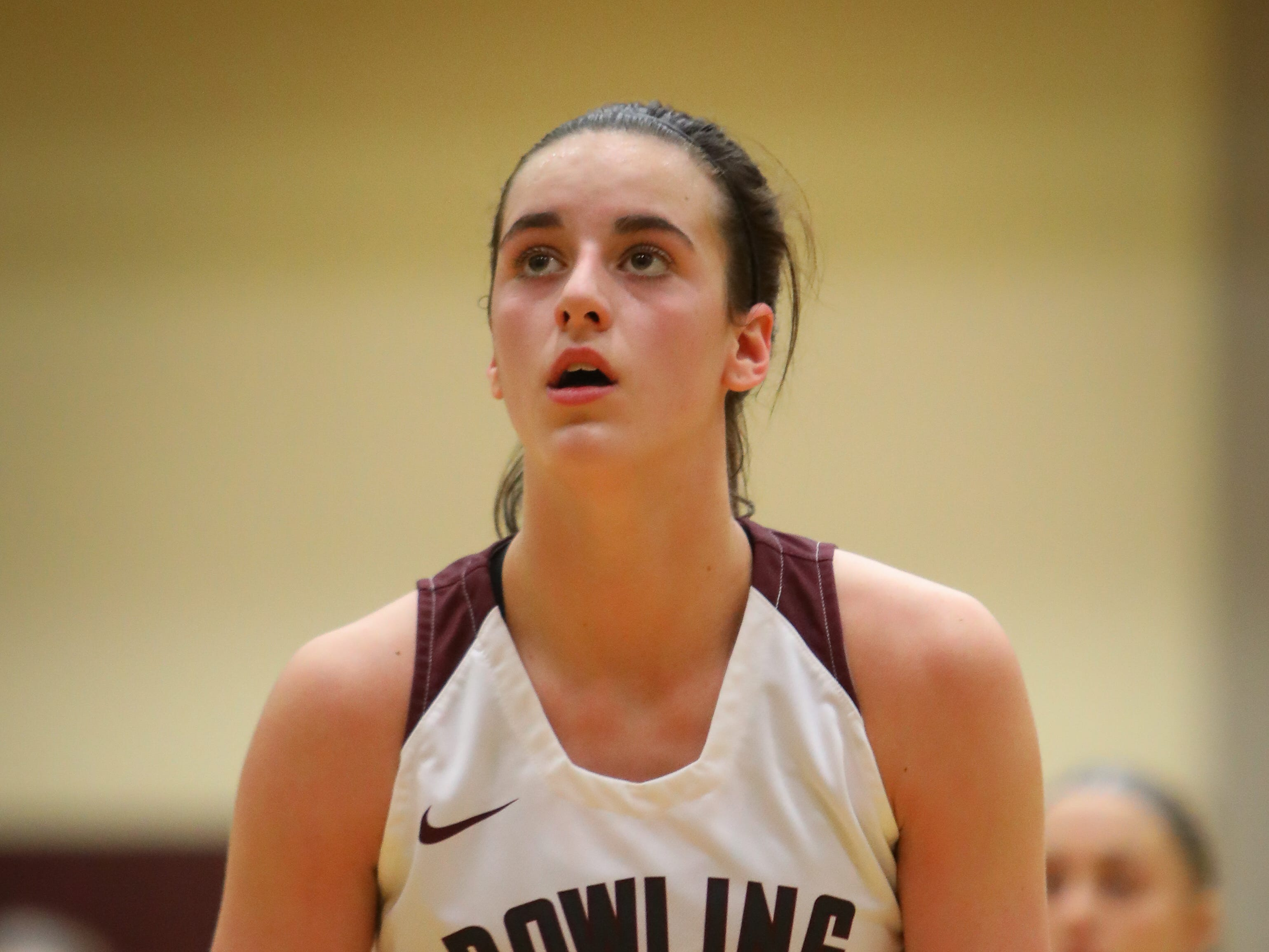 Dowling junior Caitlin Clark eyes the rim during a free throw attempt during a girls high school basketball game between the Urbandale J-Hawks and the Dowling Catholic Maroons at Dowling Catholic High School on Jan. 11, 2019 in West Des Moines, Iowa. Clark went on to score 46 points in the game.