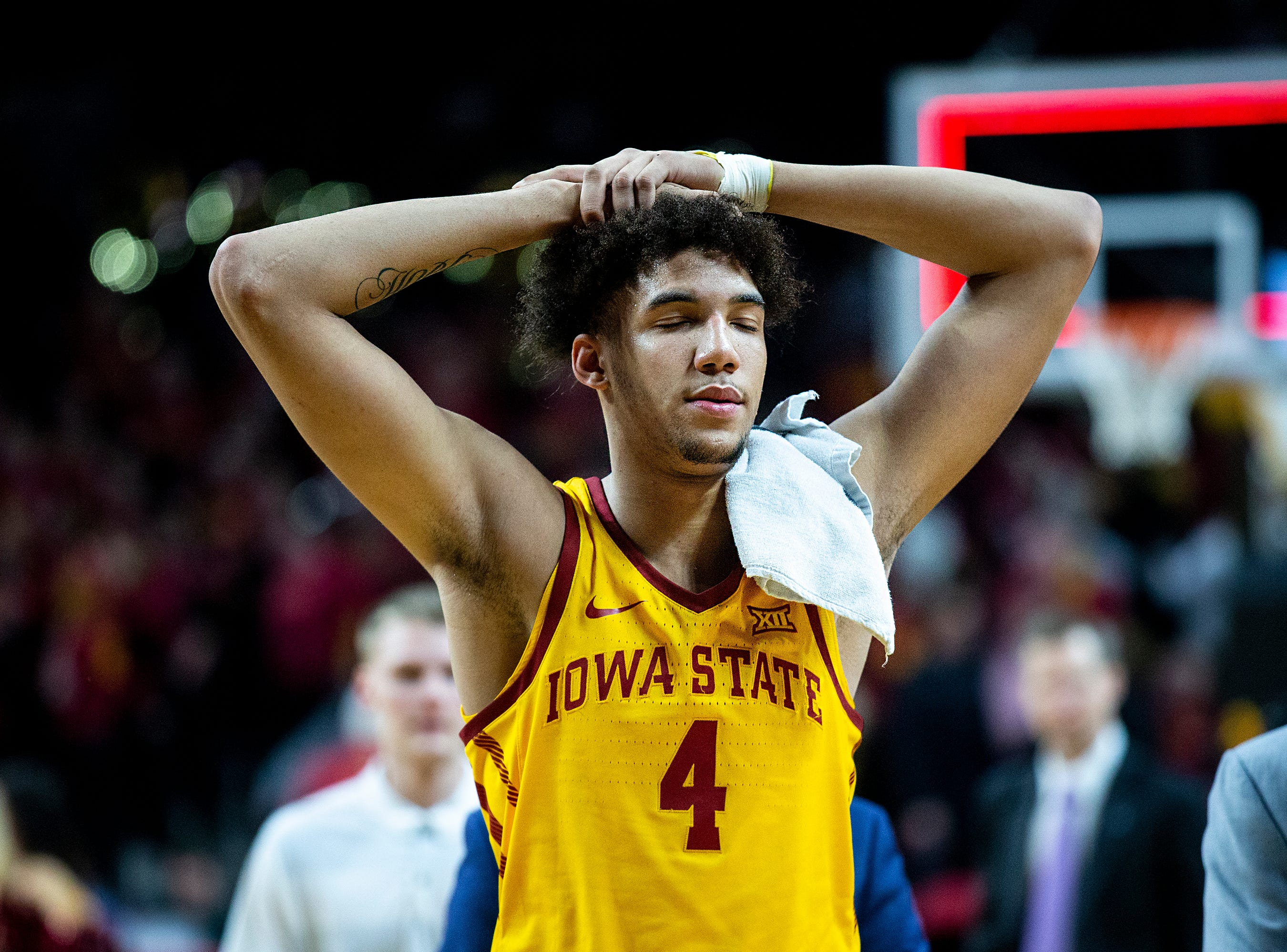 Iowa State's George Conditt leaves the court after the Cyclones loss to Kansas State on Saturday, Jan. 12, 2019, in Hilton Coliseum. The Cyclones lost to KSU by one point, 58-57.