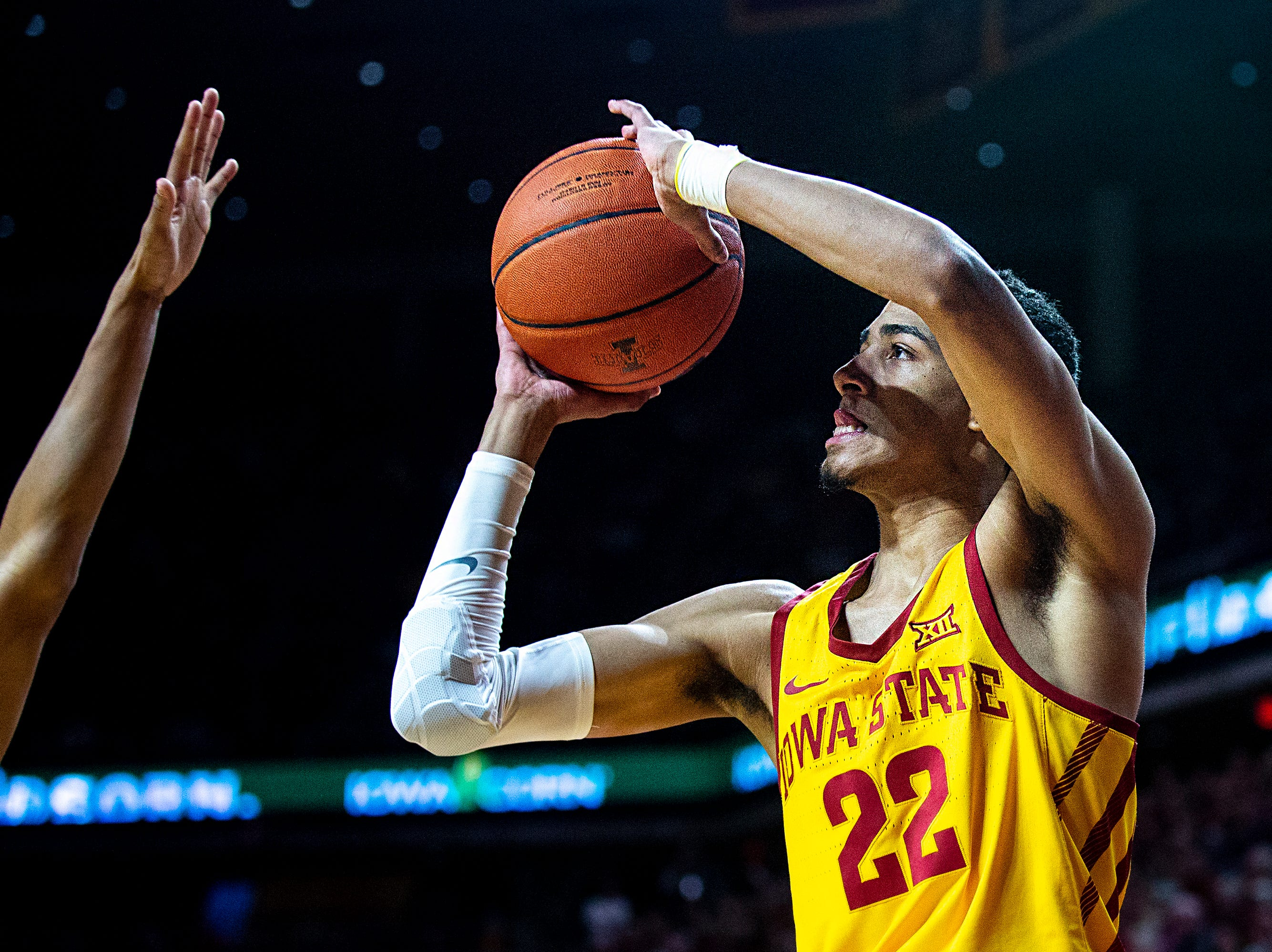 Iowa State's Tyrese Haliburton shoots a three-point shot during the Iowa State men's basketball game against Kansas State on Saturday, Jan. 12, 2019, in Hilton Coliseum.
